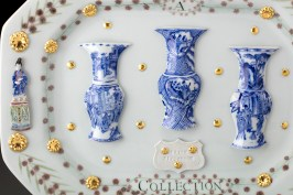 "Mara Superior, ""Kangxi Period, Qing Dynasty/ A Collection"" detail, 2018, porcelain, underglazes, oxides, glaze, gold leaf, 12.5 x 16 x 2.5""."