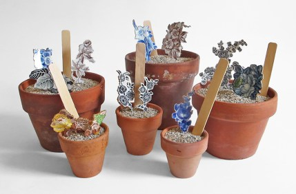 Scott's Cumbrian Blue(s), Assorted Flower Pots with Transferware Cuttings