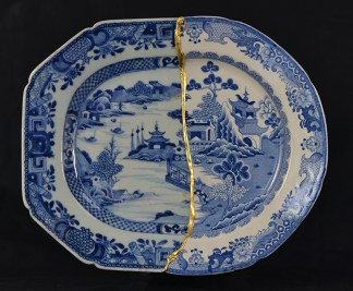 """Paul Scott, """"Scott's Cumbrian Blue(s), Garden No:1 (after Youren and Turner)"""" 2014, collage, Chinese porcelain, Staffordshire transferware, tile cement, epoxy resin, gold leaf."""