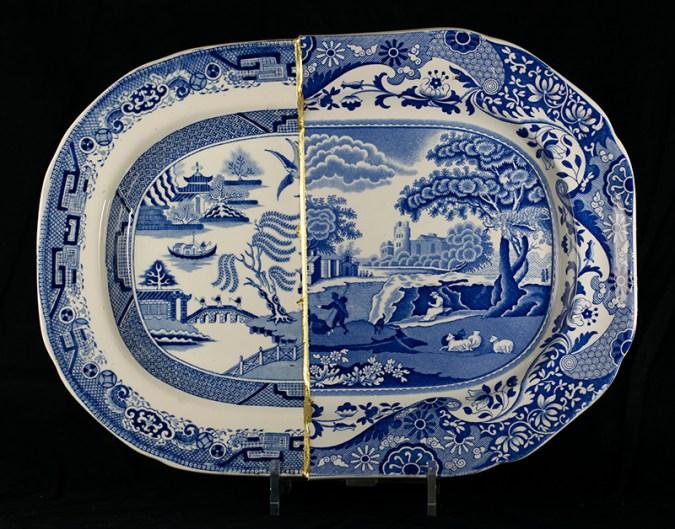 "Paul Scott, ""Scott's Cumbrian Blue(s), Willow Italian"" 2014, collage, sliced Staffordshire transferware, brass pins, tile cement, epoxy resin, gold leaf."