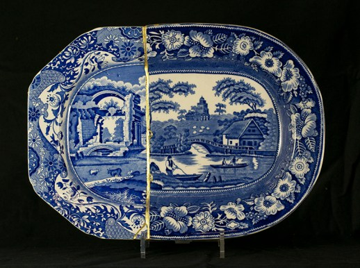 "Paul Scott, ""Scott's Cumbrian Blue(s), Italian Rose"" 2014, collage, sliced Staffordshire transferware, brass pins, tile cement, epoxy resin, gold leaf."