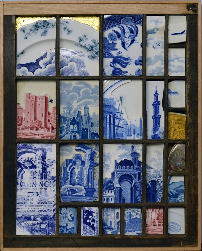 """Paul Scott, """"Scott's Cumbrian Blue(s), Ruin No:3"""" 2016, collage, cut details from assorted transferware plates, gold leaf, re-purposed print type tray, 14.5 x 10.75""""."""