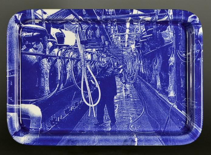 """Paul Scott, """"Scott's Cumbrian Blue(s), Milking Time After Anton Maude"""" 2017, scrennprint (decal) on Portmerion porcelain platter, 13.5""""x 9.25"""" (340mm x 235mm). One of an edition of ten."""