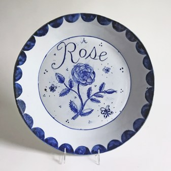 "Mara Superior, ""A Rose Platter"" 2017, porcelain, cobalt, 16 x 16 x 3""."