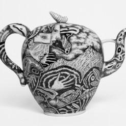 "Kurt Weiser, ""Teapot (Illustrated Black & White) 2017, porcelain, china paint, 8.5 x 11.5 x 4.5""."