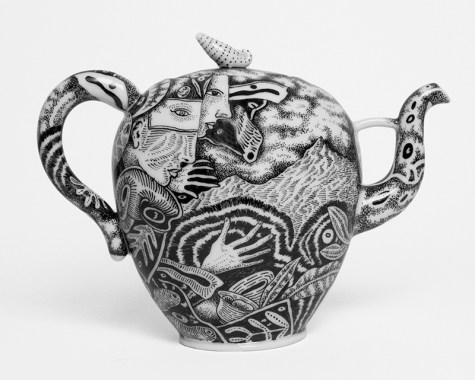 "Kurt Weiser, ""Teapot (Illustrated Black & White) 2017, porcelain, china paint, 8.5 x 11.5 x 4.5""."