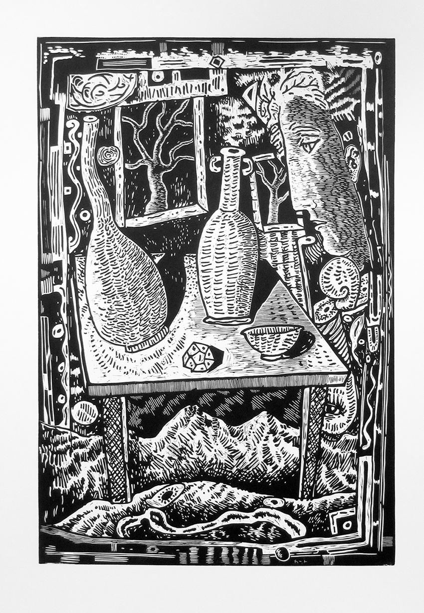 """Kurt Weiser, """"Circumstance"""" (Edition of 10), 2017, linocut print, ink on Somerset paper, print: 36 x 24""""; paper: 44 x 30""""."""