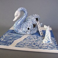 """Coille Hooven, """"Swan Song"""", 1979, porcelain, 5.5 x 9.5 x 9.5"""""""