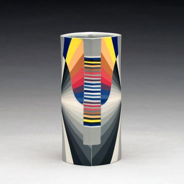 "Peter Pincus, ""Drinking Column, 2"" 2019, colored porcelain, 6 x 3 x 3""."