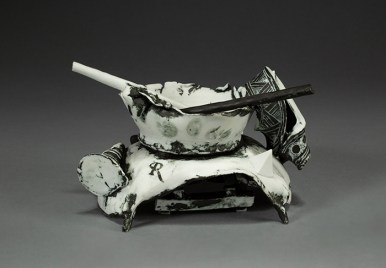 "Edward Eberle, 'Quietude or Dance' 2014, porcelain, 4.5 x 7.25 x 4.5""."