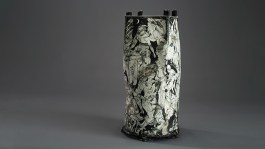 "Edward Eberle, ""Dwell"", 2013, porcelain, terra sigillata, 27.75 x 13.5 x 13.5""."