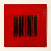 """Bobby Silverman """"Untitled Tile - Red Bar Code"""", 2013, Re-fired commercial tile fabricated in Jingdezhen, China, 12 x 12 x .5"""""""