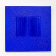 """Bobby Silverman """"Untitled Tile - Blue Bar Code"""", 2013, Re-fired commercial tile fabricated in Jingdezhen, China, 12 x 12 x .5"""""""