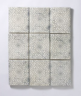 "Giselle Hicks, ""Wall Tiles with Spiral Dot Pattern"" 2008, vitreous china, 36 x 30 x 2""."