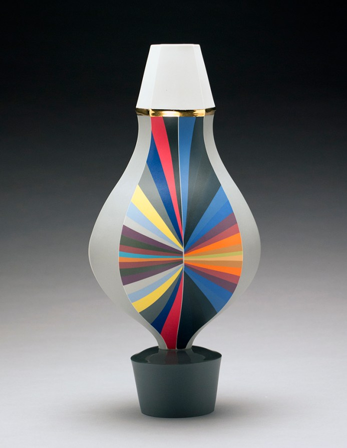 "Peter Pincus, ""Vase"" 2018, colored porcelain, 16 x 7""."