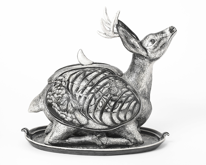 "David Regan, ""Deer Tureen"", 1994, porcelain, glaze, 17 x 22.5 x 15"""
