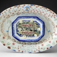 "Mara Superior, ""Trout Season"", 2020, English porcelain, cobalt oxide, gold luster, glaze, 6.75 x 9.5 x 1"""