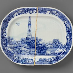 """Scott's Cumbrian Blue(s), New American Scenery, Fracked No:1, 2021. In-glaze screen print decal on repaired pearlware platter (after Enoch Wood) with kintsugi and gold leaf, 15.4 x 12.2 x 2"""""""