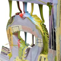 "Lauren Mabry, ""Glazescape (Double Lavender)"", 2021, red earthenware, slip, glaze, 19 x 8 x 3"""