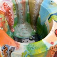 "Lauren Mabry, ""Glaze Flow Cylinder"", 2021, red earthenware, slip, glaze, 7.75 x 13.5 x 13"""