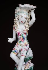 """Chris Antemann, """"Shell Stand"""" detail, 2016, porcelain, china paint, decals, luster, 21"""" x 10"""" x 10""""."""