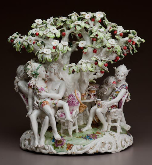 "Chris Antemann, ""Land of Milk n Honey"", 19 x 19 x 15"", porcelain, glaze, decals, 2009"