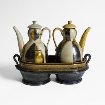 "Linda Sikora, Cruet Set, 8.25 x 10.5 x 5"", date unknown"