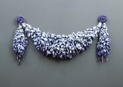 "Beth Lipman, ""Swag"" 2003, vitreous china, 11 x 36 x 5""."