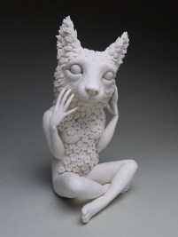 """Crystal Morey, """"New Symbiosis: Lush Anthesis (Lioness)"""" 2018, porcelain, 10.25 x 5 x 5""""."""