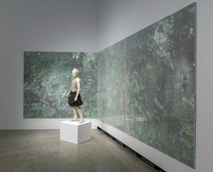 "Cristina Córdova, ""Jungla"" 2017, photographic polyptych, ceramic, resin, metal, paper, glass, plastic, wood, 78 x 18″. photo: Brian Oglesbee"