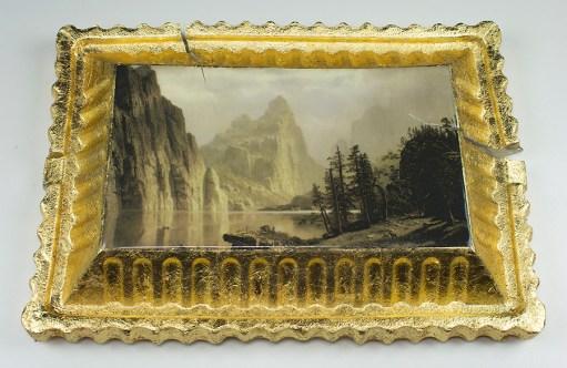 """Evan Hauser, """"Preservation & Use Preservation & Use (Merced River, Yosemite Valley, 1866, Albert Bierstadt)"""" 2017, porcelain, gold leaf, 15 x 11 2.5""""."""