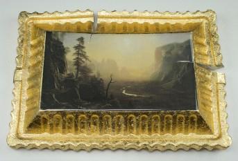 "Evan Hauser, ""Preservation & Use (Yosemite Valley, Glacier Point Trail, 1873, Albert Bierstadt)"" 2017, porcelain, gold leaf, 15 x 11 2.5""."
