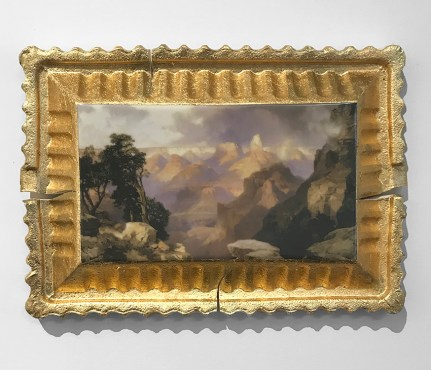 "Evan Hauser, 2017, Preservation & Use (Hot Springs of Gardiner's River, Yellowstone, 1873, Thomas Moran) porcelain and gold leaf 15 x 11 x 2.5""."