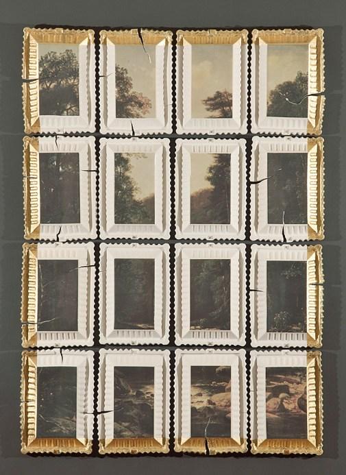 "Evan Hasuer, Preservation & Use #3 (Landscape with River, George Hetzel, 1880), 2018, 62 x 42"" x 2.5""."