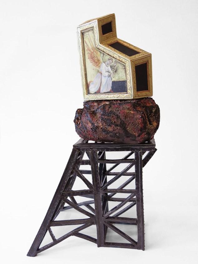 """Kadri Pärnamets, """"Mining"""" porcelian, slip, 20.5 x 10.5 x 8""""."""