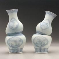 "Steven Young Lee, ""Gourd Vases with Dodos"" 2018, porcelain, cobalt pigment, glaze, 10 x 19 x 18""."