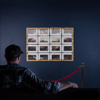 "Evan Hauser, ""Preservation & Use #2"" (Teton Range by Thomas Moran), 2017, porcelain, gold leaf, 44 x 60 x 2.5"""