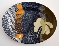 """Charlotte Hodes, """"Dressed in Pattern: Palm"""" 2016, handcut transfer on china, 10.25 x 13.25 x 1""""."""