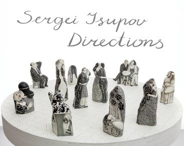 "Sergei Isupov, ""Sailor and Beauty,"" ""Partners,"" ""Old Story,"" ""Do Not Press,"" ""Swiftness,"" ""Aperitif,"" ""Take Breath,"" and ""Who Will Win"" 2018, porcelain, slip, varied sizes ≈ 8 x 3.5 x 2""."