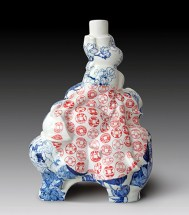 "Sin-Ying Ho, ""Source of Wealth"" 2012, Porcelain, hand-painted cobalt pigment, transfer decal, 27 x 20 x 15""."