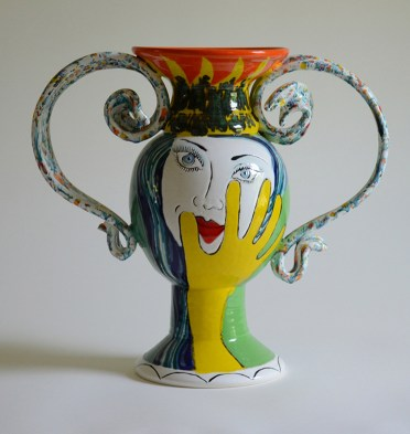 """Phillip Maberry, """"Vase — Woman with Gloves"""" 2003, porcelain, 16 x 18""""."""