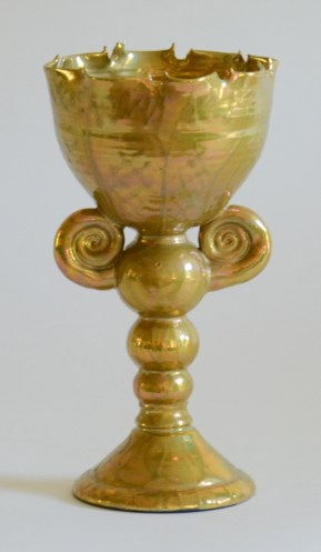 "Phillip Maberry, ""Gold Chalice"" 1999, porcelain, 10.5 x 5.5 x 5.5""."