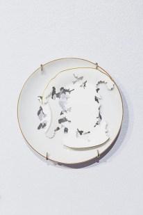 """Elizabeth Alexander, """"Royal Crown Derby"""" 2015, hand cut found porcelain 6.5 x 6.5 x 5""""."""