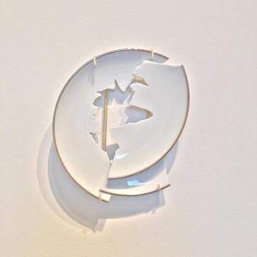 "Elizabeth Alexander, ""Untitled Plate Study no. 4"" 2016, hand cut found porcelain 7.5 x 6.5 x 1.75""."