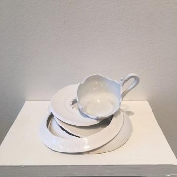 "Elizabeth Alexander, ""Hopeland"" 2016, hand cut found porcelain, 5 x 5 x 3.25""."