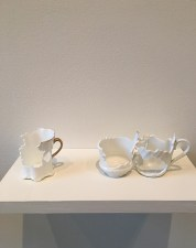 "Elizabeth Alexander, ""Double, Crown"" 2017, hand cut found porcelain 9 x 2 x 2.5""."