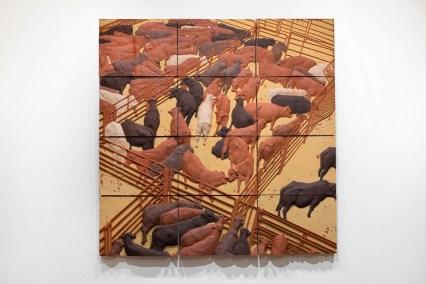 "Elliot Kayser, ""Altered Landscape 1"", 2018, terracotta, underglaze, 10 x 20 x 20""."