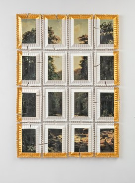 "Evan Hauser, ""Preservation and Use #3 (Landscape with River, George Hetzel, 1880)"", 2018, porcelain, gold leaf, 62 x 42 x 2.5"""