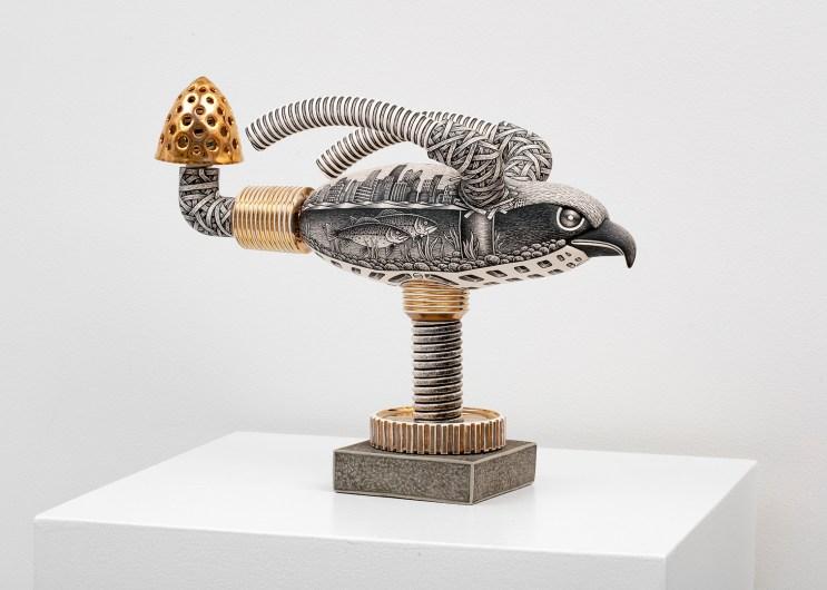 "Jason Walker, ""Osprey"", 2018, porcelain, underglaze, luster, and concrete, 11 x 14 x 6"""