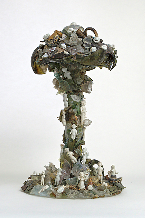 """Bouke de Vries, """"Cloud Glass 2"""" 2017, 17th and 18th Dutch archaeological glass fragments, mixed media, 21.5 x 13 x 13""""."""
